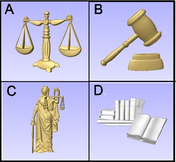 A10995 - Examples of Carved 3-D Bas-Relief Symbols for Law Signs and Plaques