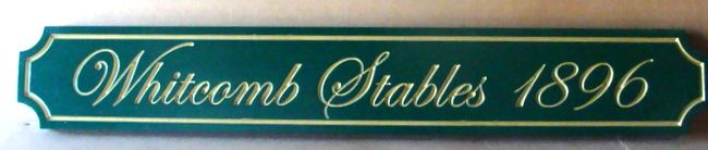 """P25362 - Engraved HDU Horse Facility Sign, """"Whitcomb Stables"""". with Gold-Leaf Gilded Script Text"""