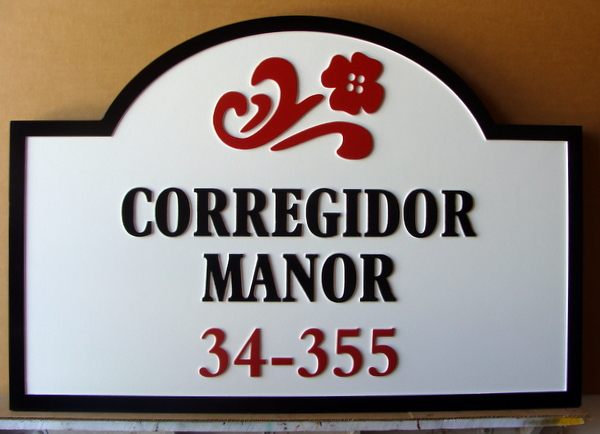 KA20900A - Carved HDU Apartment Unit Number Adress Sign for Manor House Style Apartment Complex