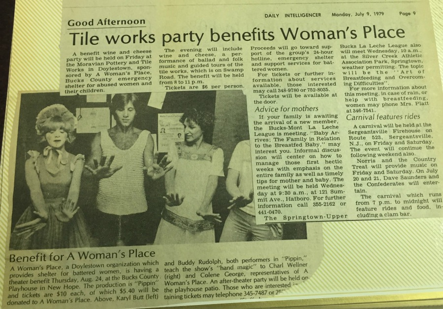 Moravian Tile Works in Doylestown hosted a fundraiser for AWP, while proceeds from the Bucks County Playhouse's production of Pippin also supported the organization.