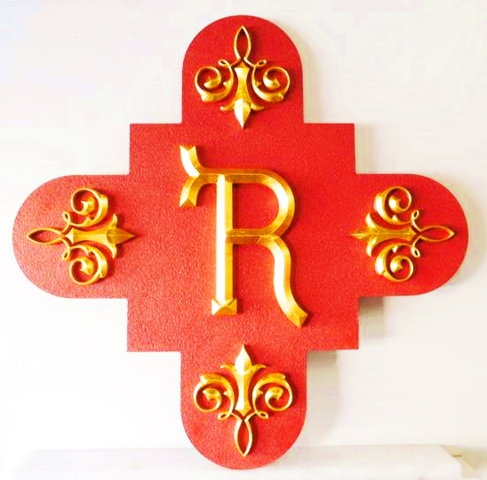 XP-1310 - Carved Wall Plaque of Monogram, Gold Leaf Gilded
