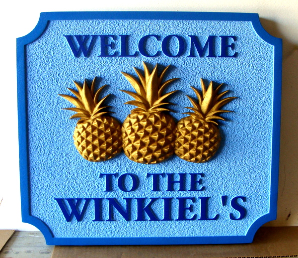 "L21802 - Carved ""Welcome"" Residence Sign, with  Three Pineapples"
