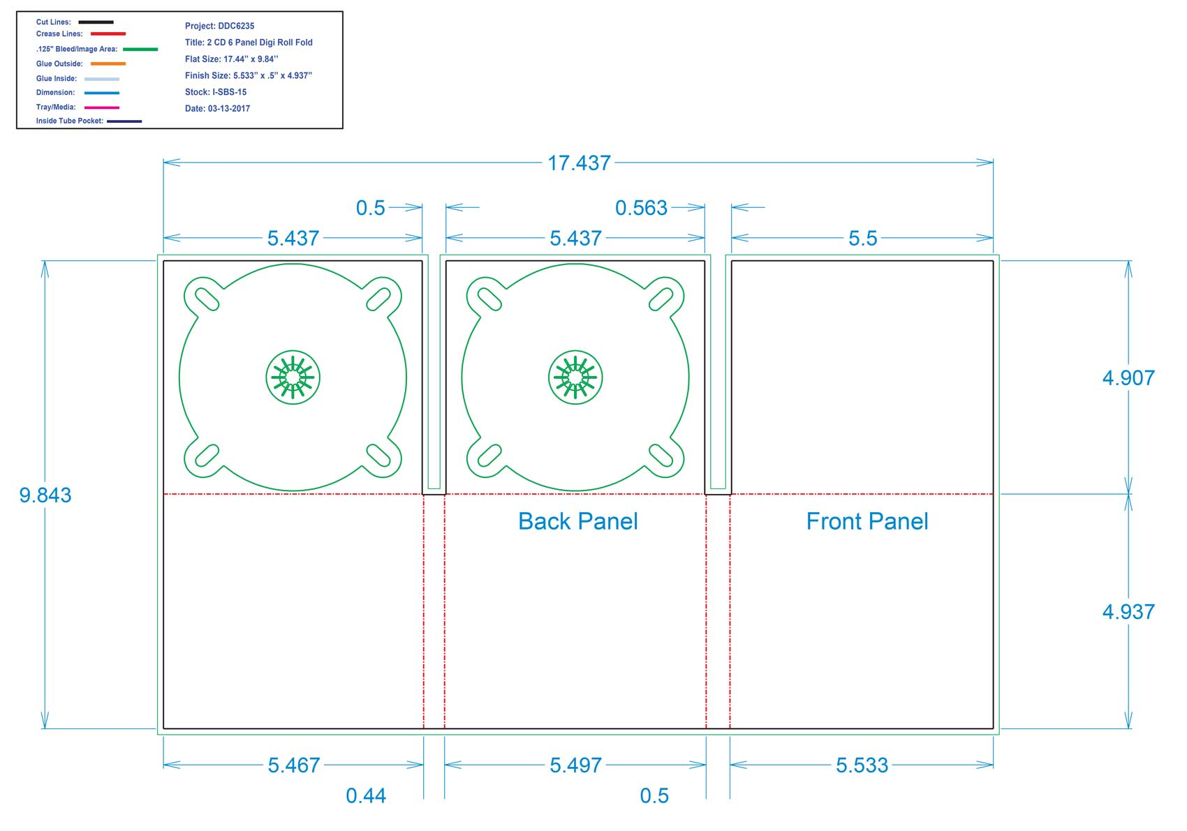 DDC6235 6 Panel Digi 2 Tray, No Pocket