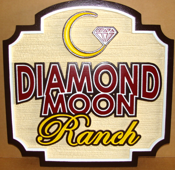O24038- Carved and Sandblasted  HDU Entrance Sign for Diamond Moon Ranch, with Logo/Brand