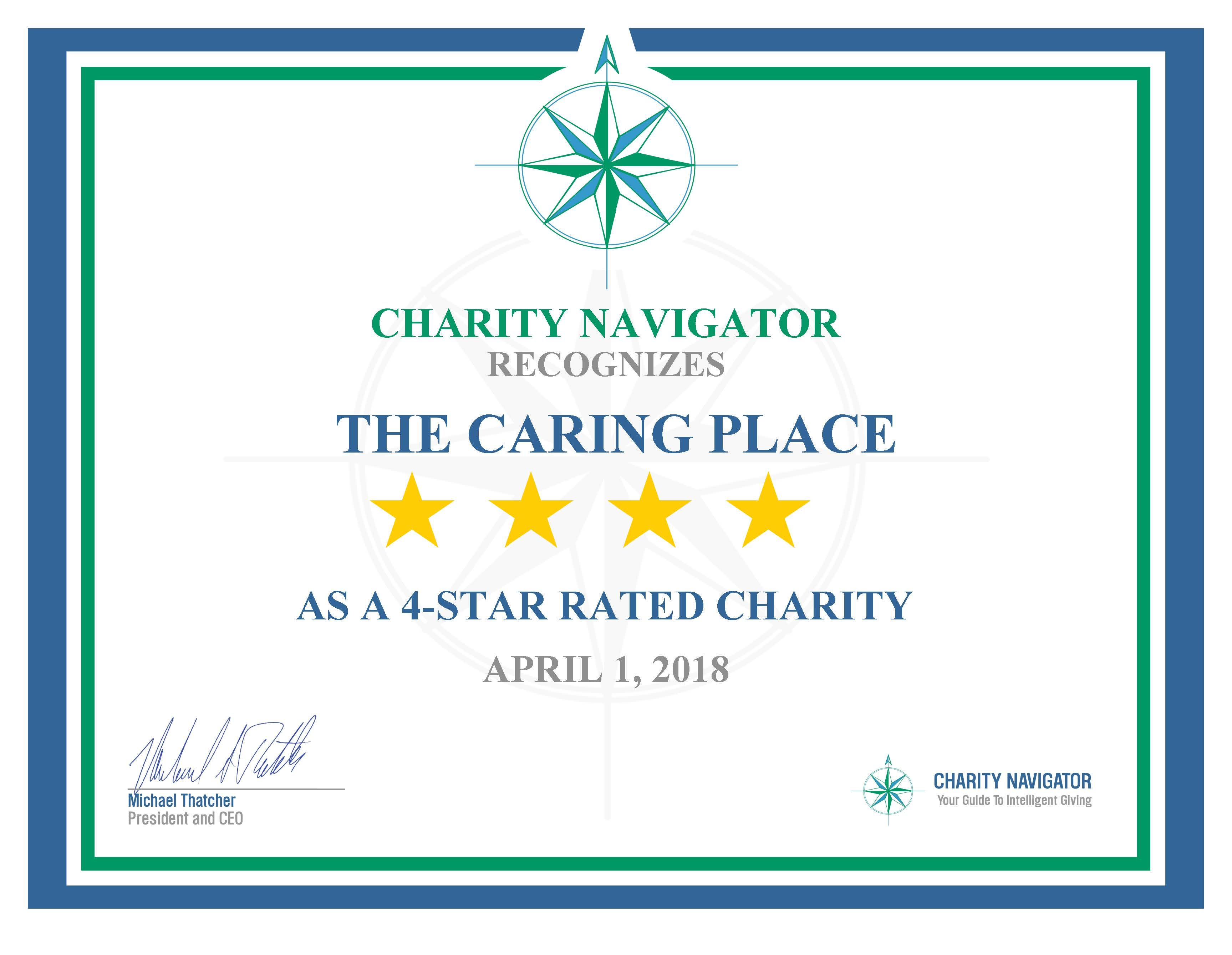 Charity Navigator Awards 4-Star Rating to The Caring Place