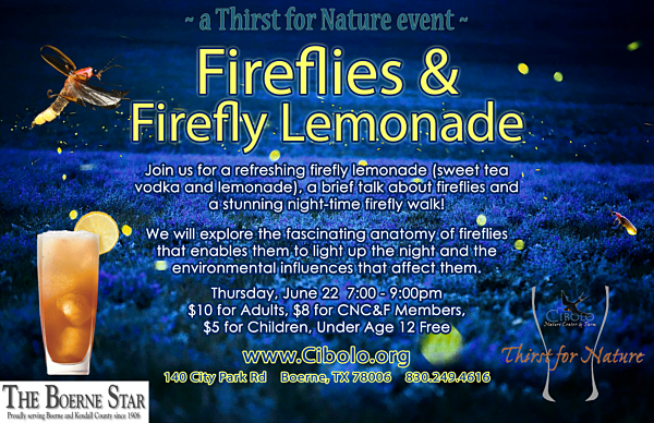 CNC: a Thirst for Nature event: Fireflies w/Firefly Lemonade