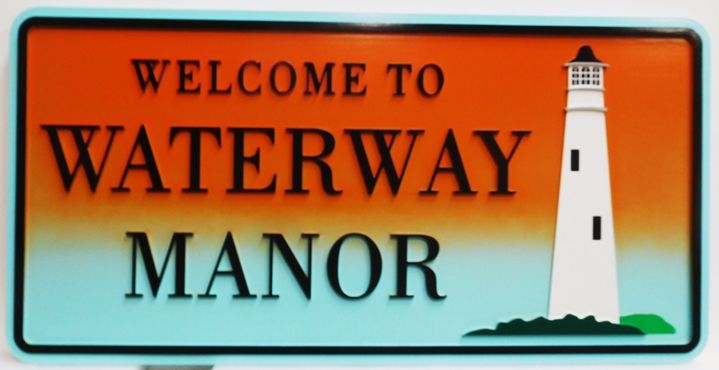 """L21431 - Carved HDU Coastal Residence  Name Sign """"Waterway Manor"""", 2.5-D Artist-Painted with Lighthouse as Artwork"""