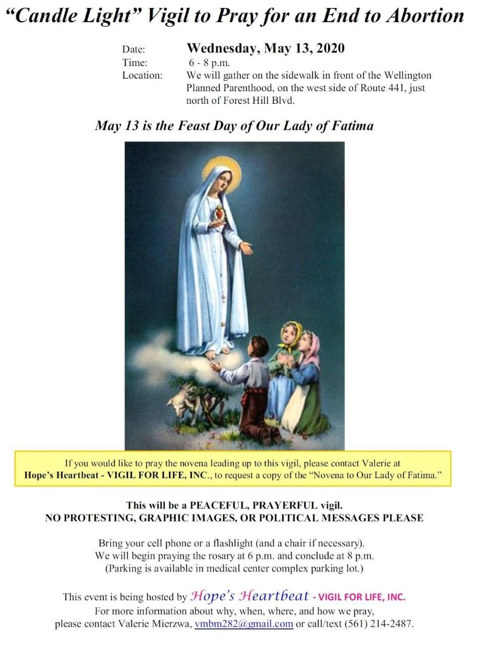 Our Lady of Fatima Candlelight Vigil - Prayer to End Abortion