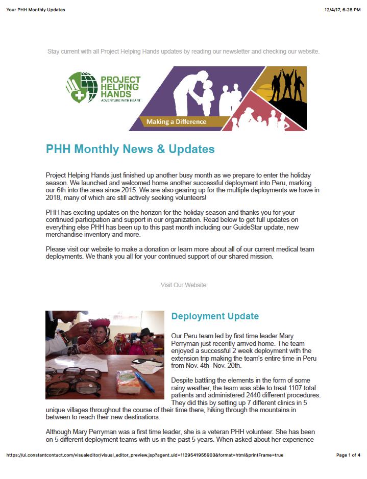 PHH Monthly News & Updates - November 2017