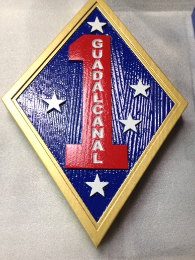 "V31422A - Carved Cedar Wall Plaque for 1st Marine Division, with ""1"" and  Guadacanal"