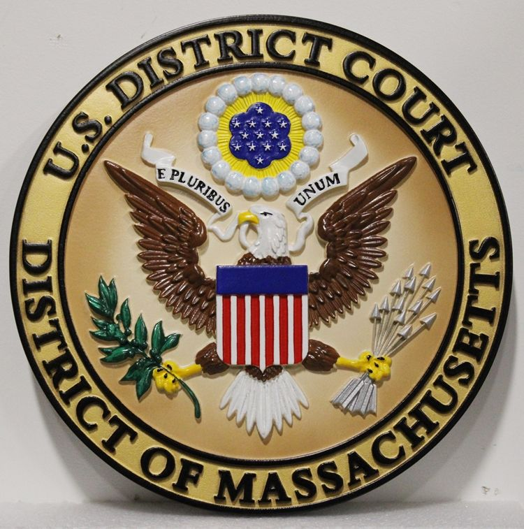 FP-1391 - Carved 3D HDU Plaque of the  Seal  of the US District Court,  District of Massachusetts, Artist Painted