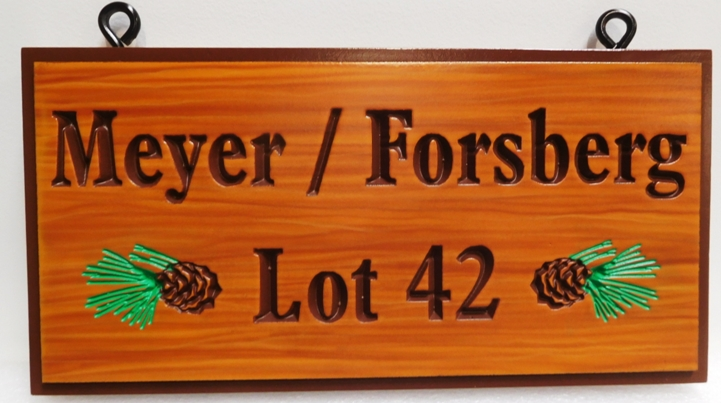 "M22019 - Rustic Carved Cabin Name Sign ""Meyer/Forsberg"", 2.5-D Engraved Artist-Painted, with Pine Cones as Artwork"