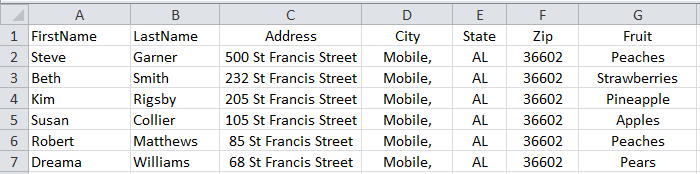 Variable-data spreadsheet example