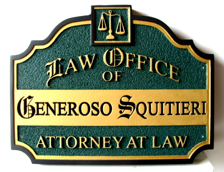 A10131 - Elegant Engraved Wood Attorney-at-Law Office Sign