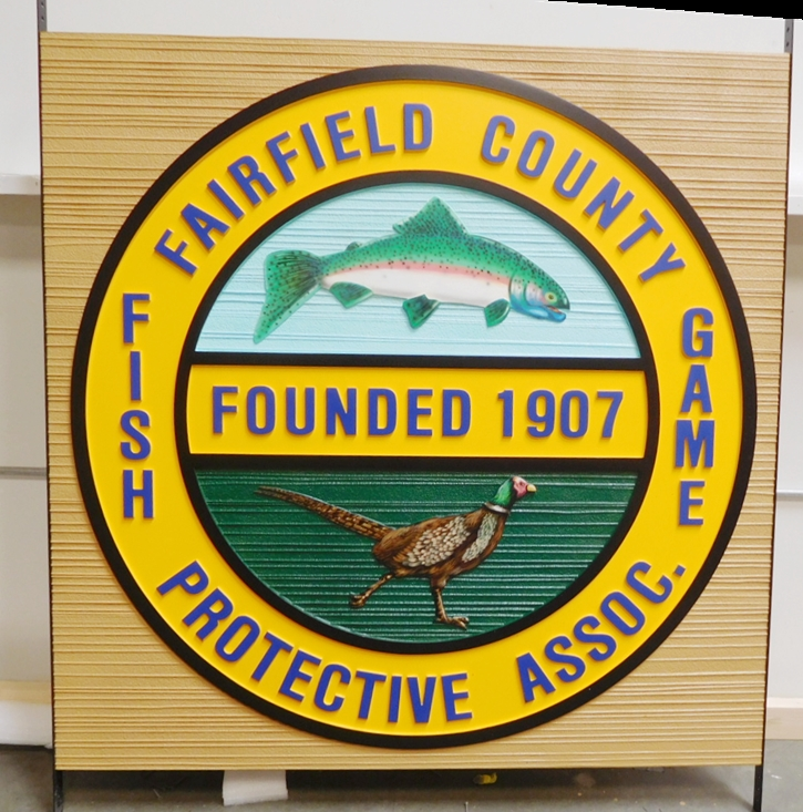 CP-1225 - Carved and Sandblasted Seal of the Fish & Game Association of Fairfield County, Artist-Painted