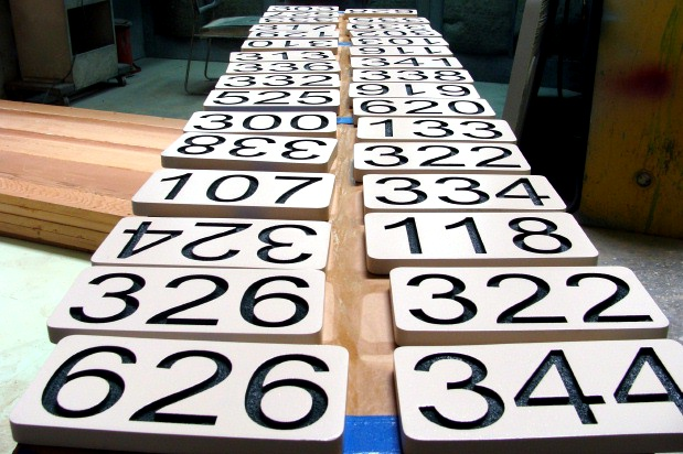 T29211- Carved   High-Density-Urethane (HDU) Room Number Plaques with Raised  Numbers