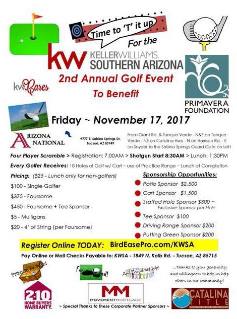 Keller Williams of S. AZ's Second Annual Golf Tournament to Benefit Primavera