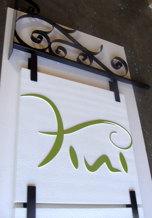 SA28323 -Beauty Boutique Blade Sign with Wrought Iron Scroll Bracket