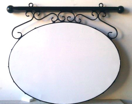 M4670 - Wrought Iron Perimeter  Frame, Overhead Bar, and Scrolls for Hanging Elliptical Sign