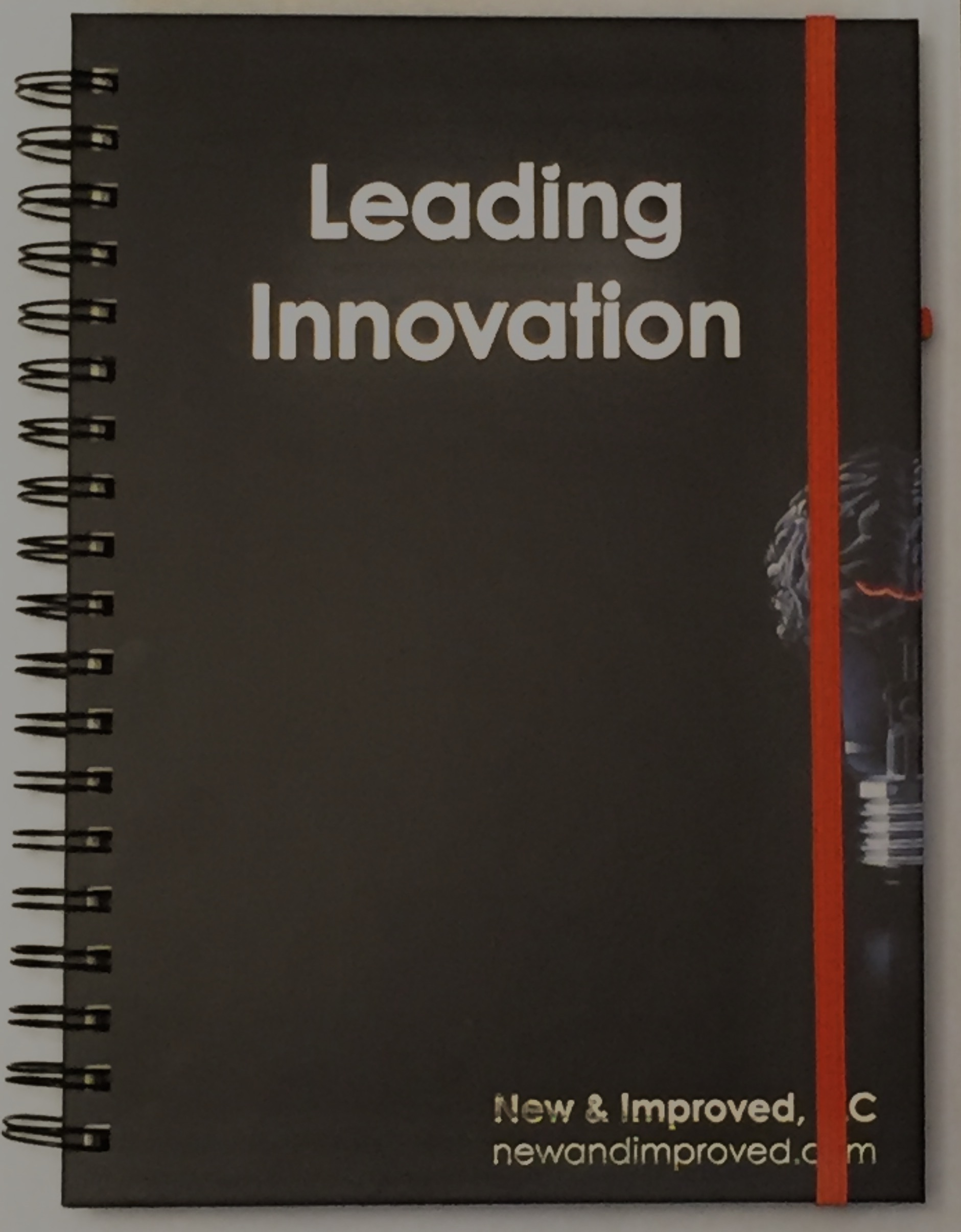 Leading Innovation Journal, New and Improved, LLC, spiral bound, felt texture paper inside pages, pen loop and elastic page marker with rivet