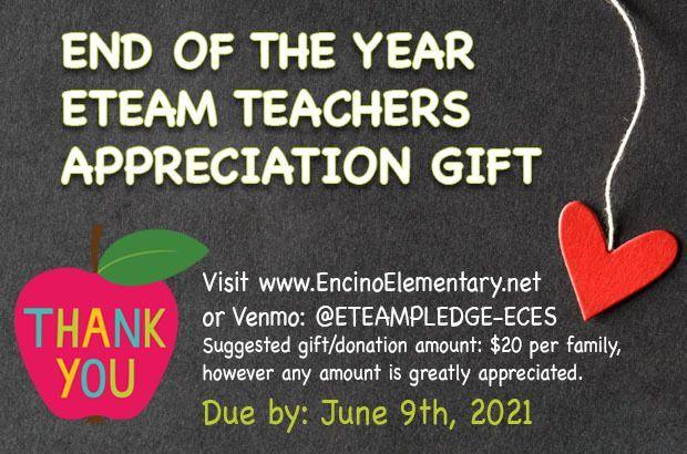 E-TEAM Teacher End-of-Year Gift