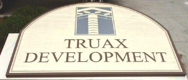 "SA28620 - Sign for ""Truax Development""  Company with Logo of Pillar as Artwork"