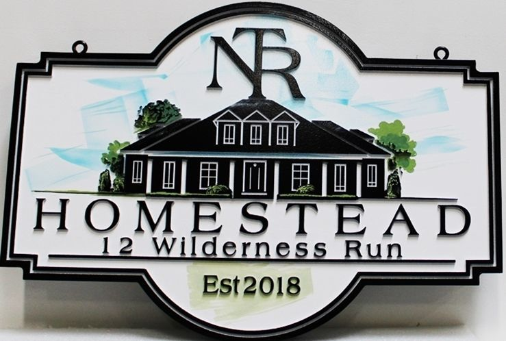"M22002 -  Carved 2.5-D Multi-level Relief HDU Residence Name and Address Sign ""Homestead""., with House as Artwork"