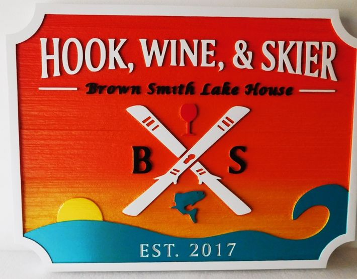 "M22443 - Carved Lake House Property name sign ""Hook, Wine & Skier"", with Lake, Water Skis, and Sunset as Artwork"