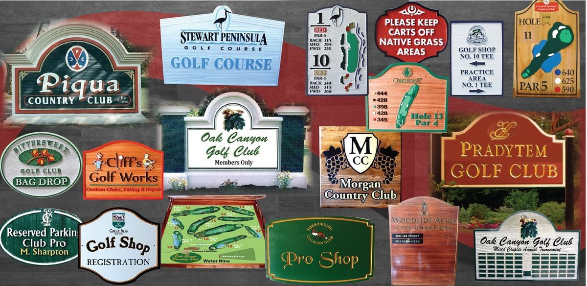 Golf course and country club signs