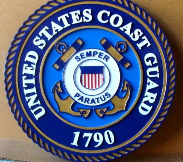 V31910A – Carved 2.5-D Wall Plaque of the Seal of the US  Coast Guard – Sky Blue version