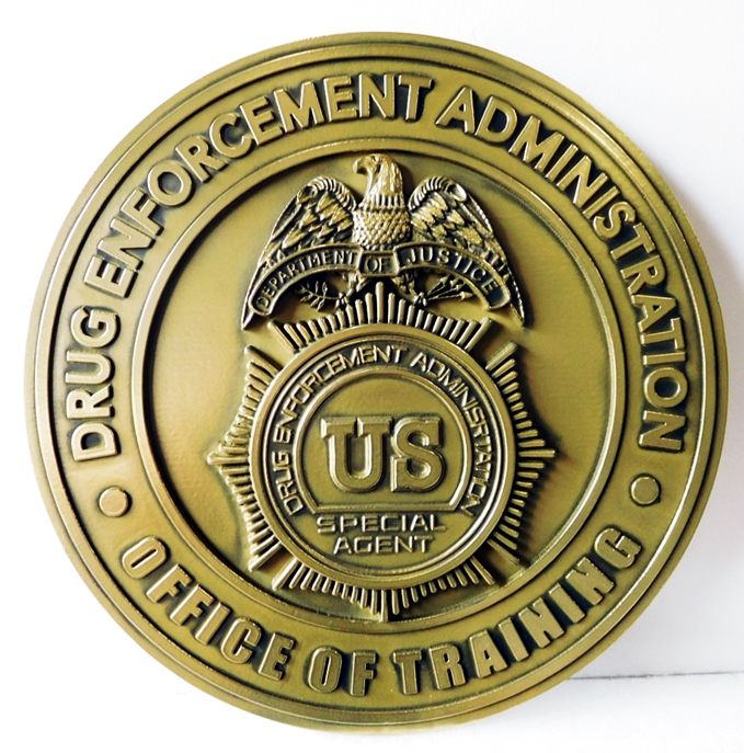 AP-4090 - Carved Plaque of the  Seal of the Drug Enforcement Administration(DEA), Office of Training, Brass-plated