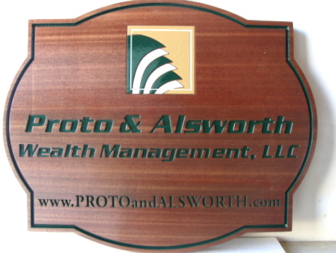 C12115 - Carved Mahogany Wealth Management Business  Sign
