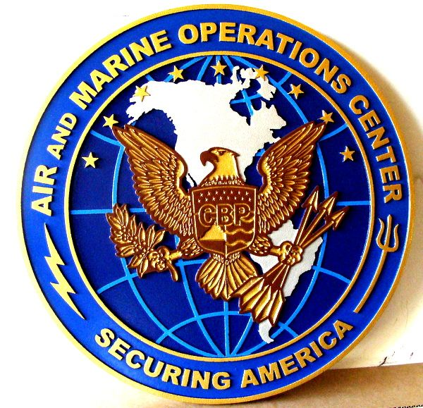 V31646 - Carved Wall Plaque for the Air & Marine Operations Center, Customs & Border Protection (CBP)
