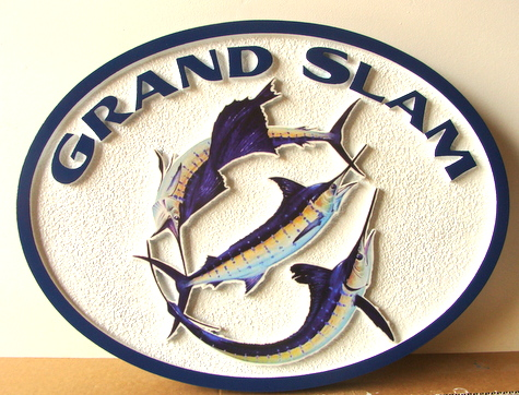 "L21374 - Carved Fisherman's Cottage Sign ""Grand Slam"" with Three Billfish (Marlin, Sailfish and Swordfish)"