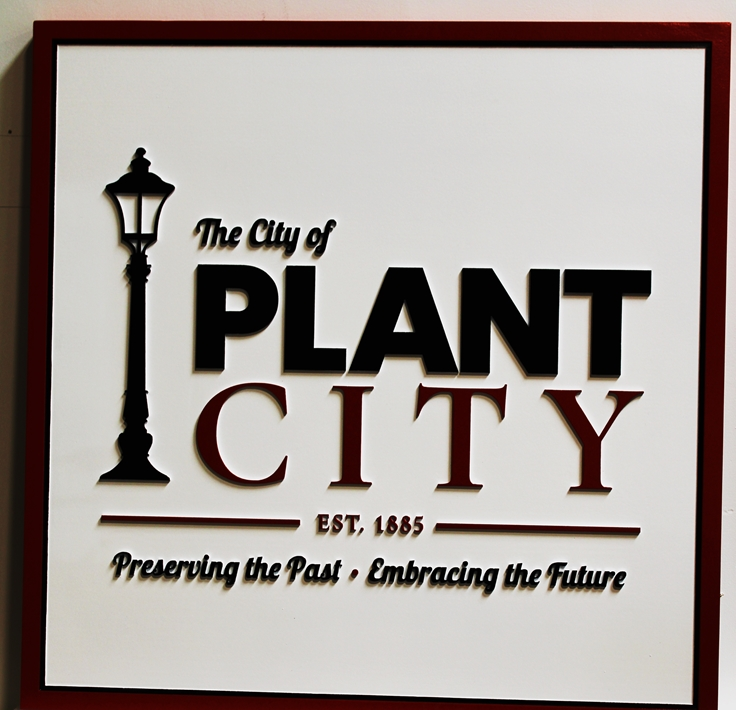 F15398 -  Large Entrance Sign for Plant City, with Classic Street Lamp as Artwork