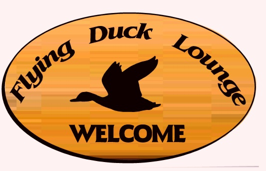 Y27145- Engraved Flying Duck Bar and Cocktail Lounge Sign