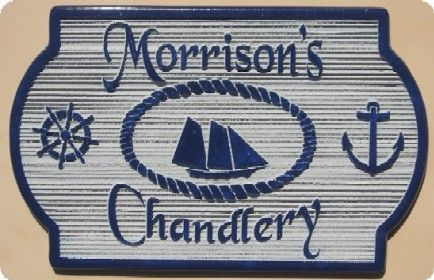 """SA28630 - Carved Wood Grain Sign for """"Morrison's  Chandlery"""" with Sailing Ship, Helm and Anchor"""