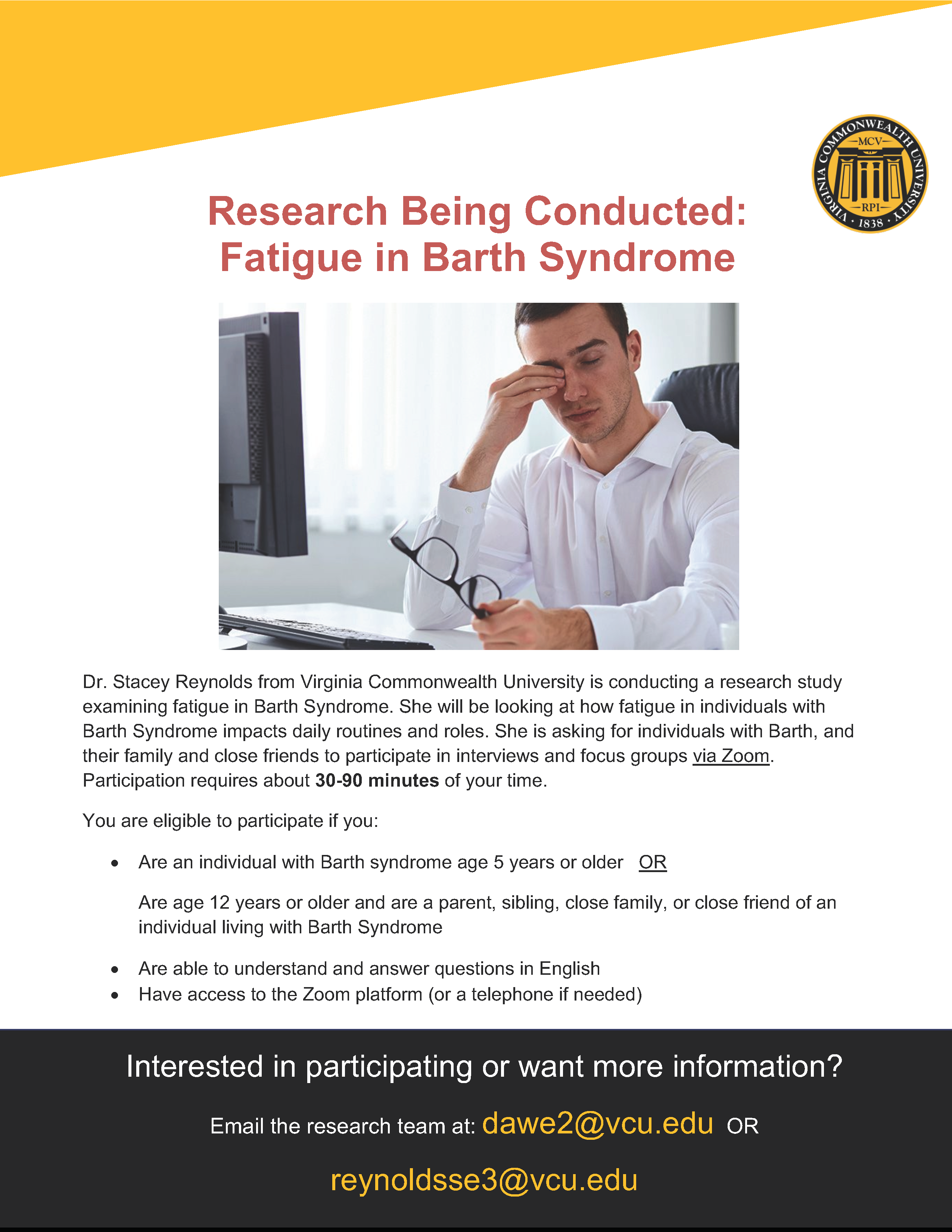 Seeking Research Participants: Fatigue in Barth Syndrome