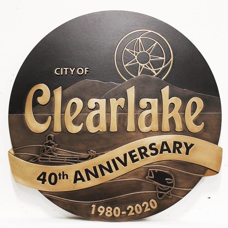 X33404 - Carved 2.5-D HDU Plaque of the Seal of the City of Clearlake