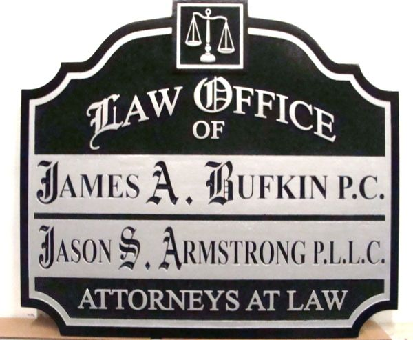 A10133A -Black and Metallic Silver Law Office Wall Sign, Carved and Sandblasted HDU