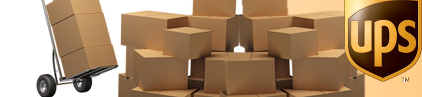 Brown Boxes next to UPS Logo
