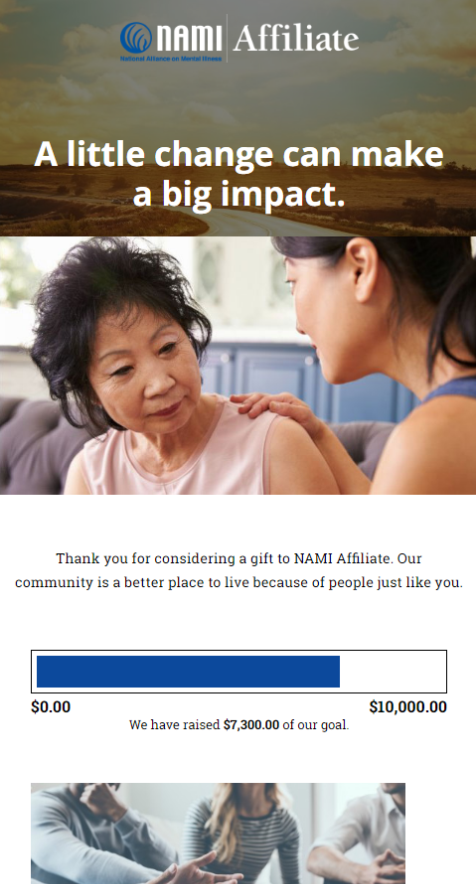 NAMI Affiliate branded fundraising page for nonprofit website