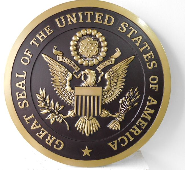M7123 - 3-D Polished Brass Wall Plaque for the Great Seal of the United States of America