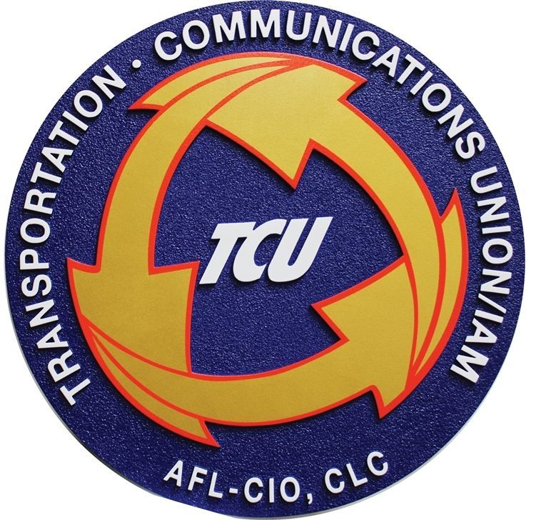 VP-1449 - Carved 2.5-D Relief HDU Plaque  of the Logo of the Transportation & Communication Union / IAM