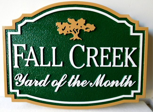 "KA20927- Carved ""Fall Creek"" HOA Yard-of-the-Month Sign, with Stylized Logo of an Oak Tree"