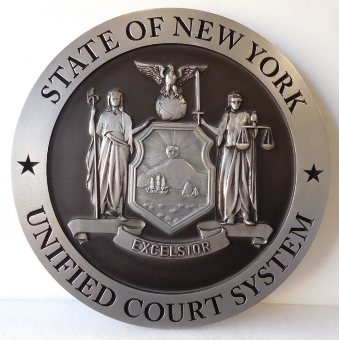 GP-1230- Carved Plaque of the Seal of the  Unified Court System, State of New York, Painted Metallic Silver