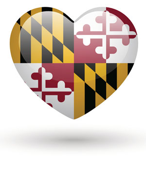 Maryland flag in a heart