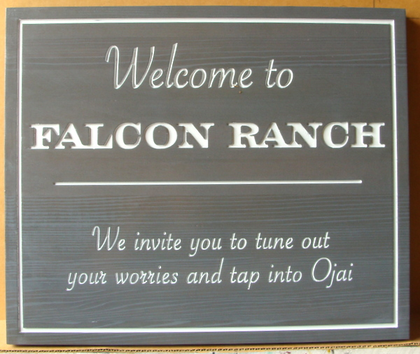 024039 – Carved  Engraved Cedar  Welcome Sign for Falcon Ranch, in Ojai, California