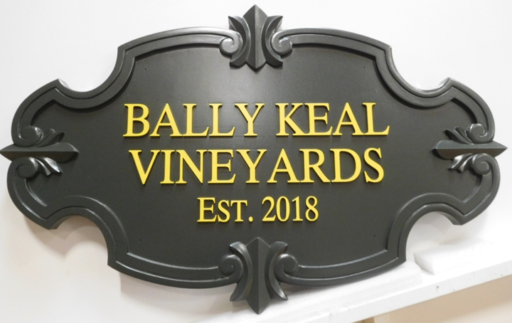 R27028 - Carved HDU sign for the Bally Keal Vineyards, with 3-D Border