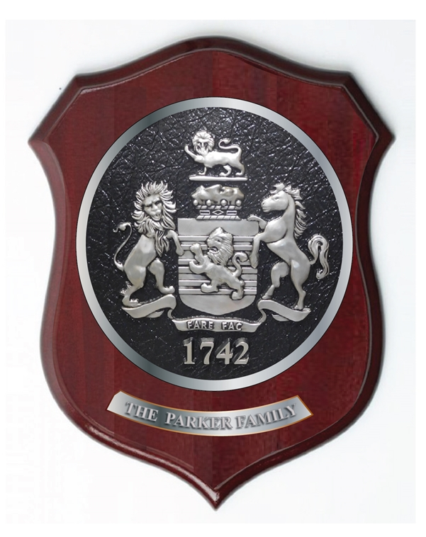 XP-2060 - Carved Shield Wall Plaque of Family Coat-of-Arms / Crest, German Silver Plated with Mahogany Wood